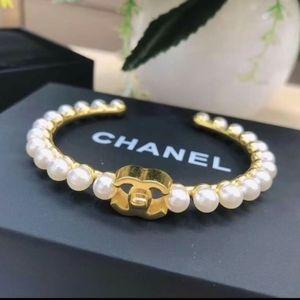 CHANEL Metal & Pearl Gold Tone Cuff Bracelet